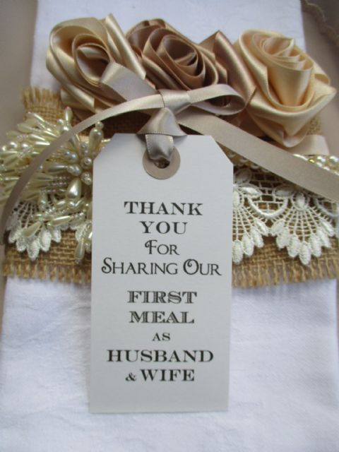 10 Thank You for Sharing Our First Meal as Husband & Wife Place Cards Napkin Tie White